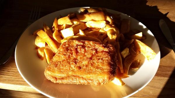 "Pattie & Chips. Served in ""Moorclose Fisheries"" in Workington  09/06/15"