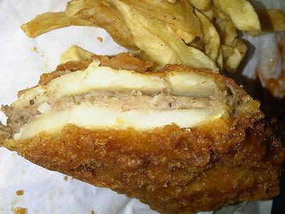 "Pattie & Chips. Served in ""Moorclose Fisheries"" in Workington  08/05/13"