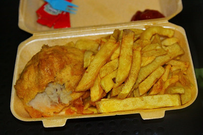 """Meat & Potato Pattie & Chips.  Served in """"Home & Away"""" in Carlisle  06/12/12"""
