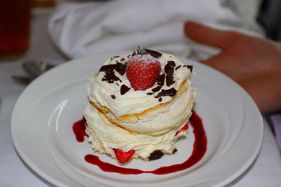 Homemade Strawberry Pavlova. Served in Living Coasts in Torquay. 18/09/11