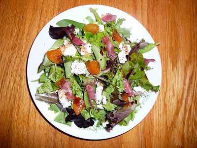Spring Lettuce with Goat Cheese, Apricots, Prosciutto and Vino Cotto  Recipe and photo by Montillo Italian Foods, copyright December 18, 2010