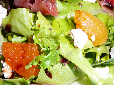 Spring Mix Lettuce with Goat Cheese, Apricots, Prosciutto and Vino Cotto  Recipe and photo by Montillo Italian Foods, copyright December 18, 2010