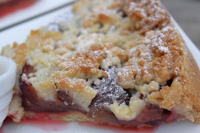 Plum Pie with Clotted Cream, served in The Rare Breeds Farm Cafe on the South Devon Railway, Totnes  07/04/12