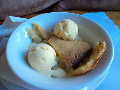 "Apple Pie - Traditional apple pie with Bramley apples in sweet golden pastry, served with ice cream. £4.75. Served in ""The Babbacombe Inn"" in Torquay  05/07/14"