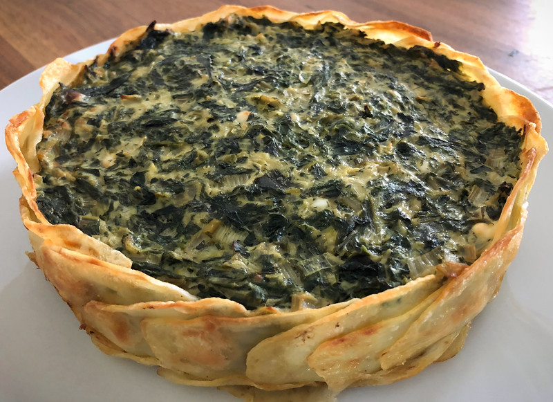 Greens and Herb Pie in a Potato Crust