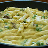 "<h1>Penne Pasta in a Bechamel Sauce</h1> Penne Pasta, with mushrooms and baby peas in Bryanna Clark Grogan's Bechamel Sauce.  Vegan, of course!   ---   <a href=""http://www.brendajwiley.com/pasta_bechamel.html"">Recipe here</a>."