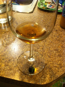 A rare look at some of the mead still in the glass. Stuff looks like brandy.
