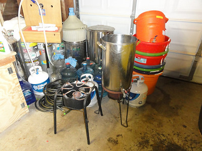 The equipment used, a large brew pot with a spigot on the bottom and a propane stove.