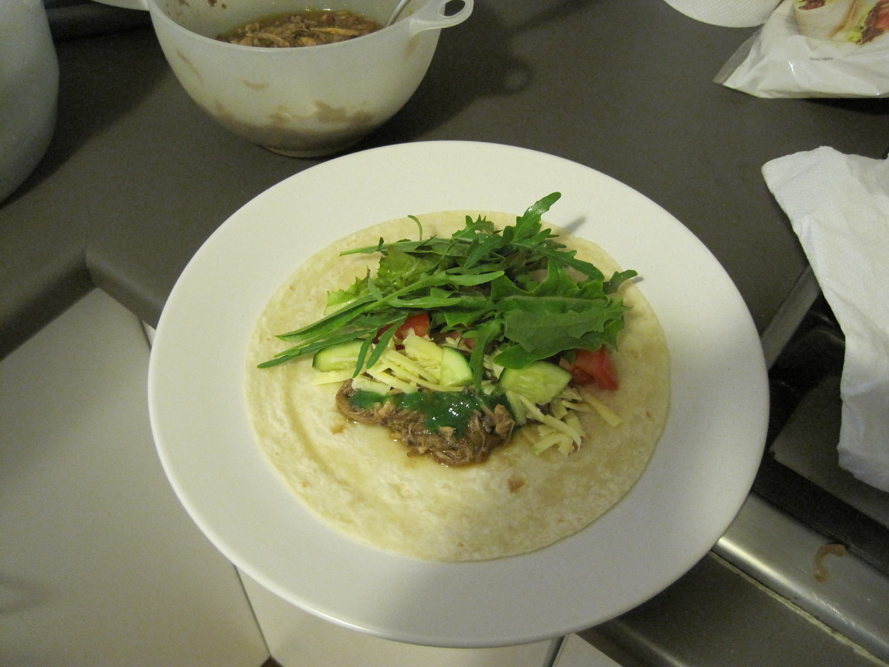 Served in a tortilla with some fresh greens from the garden. Delicious.
