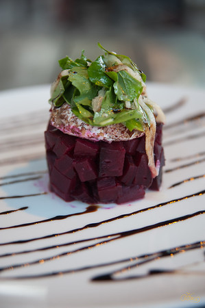 Steamed Beets with Goat Cheese and Arugula