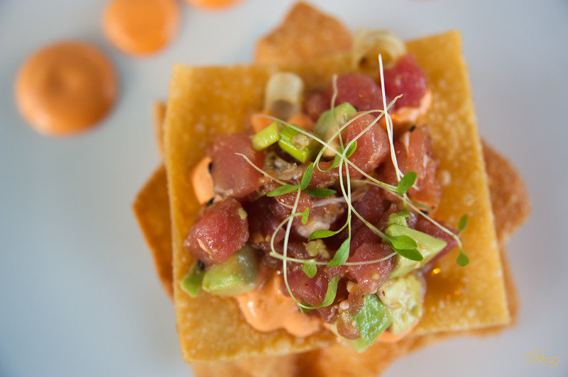 Ahi Tuna Tartare on Fried Wontons