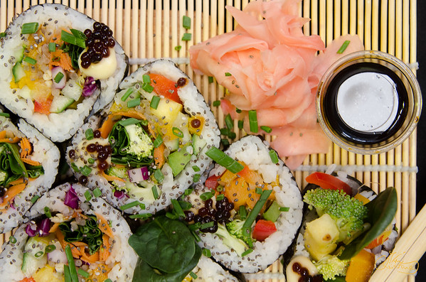Vegan Sushi Roll with Pickled Ginger