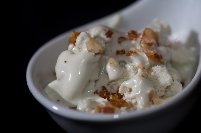 Vanilla Ice Cream with Caramelized Pecans