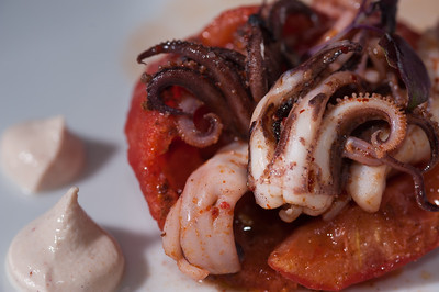 Braised Calamari on Half Tomatoe