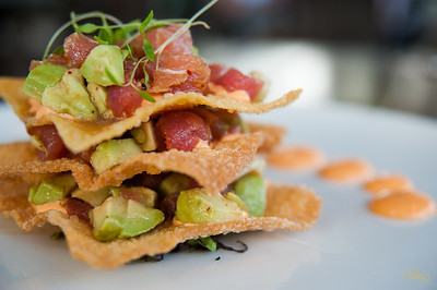 Ahi Tuna Tatare on Fried Wontons