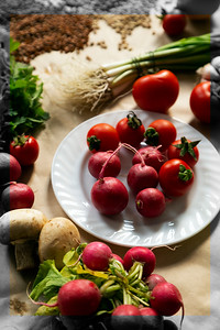 Healthy food background. Assortment of fresh vegetables on paper background