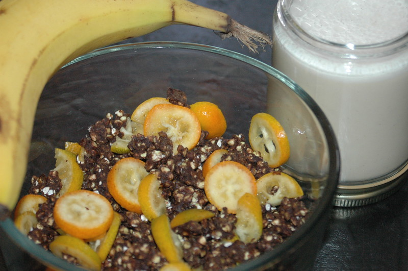 Packing a quick lunch: carob cereal with sliced kumquats, a banana to add later and almond-vanilla milk.  Very delicious.