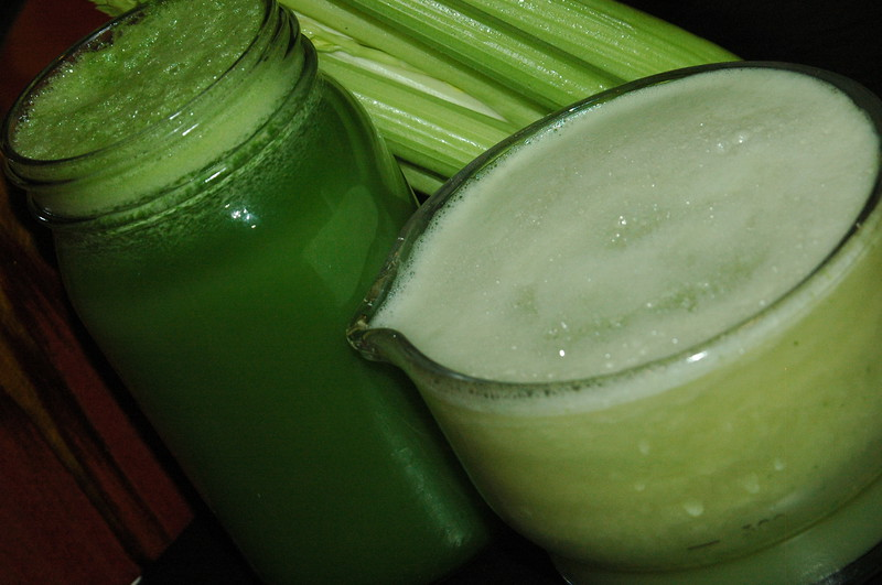 Two new favorites: Celery with spinach, cucumber and apple; Celery with pears and apples.