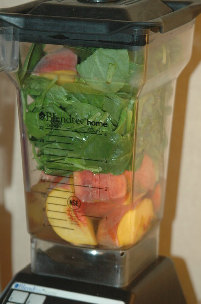 This is hands down my favorite smoothie.  Spinach and peaches.  Simple and delish.