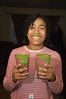 Another satisfied customer!  She made a green smoothie for herself and had both of these cups for dinner.  Yay!  My kids are eating greens and loving them!  I think this one had kale, pineapple and apples.