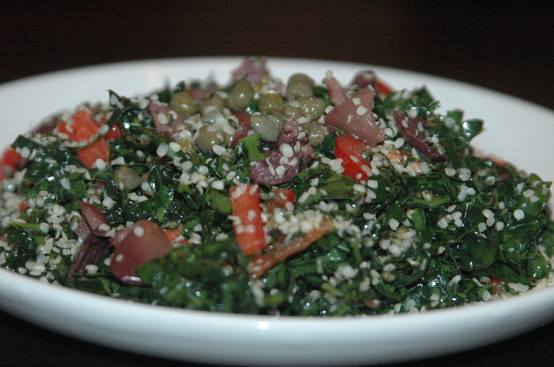 Kale salad with olives and capers.