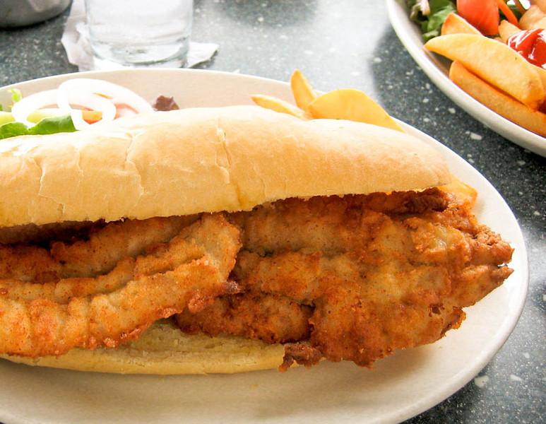 Flying fish sandwich, Bridgetown, Barbados