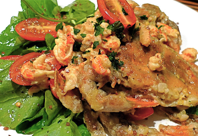 Soft Shell Crabs with Crawfish and Live (Hydroponic) Watercress Salad