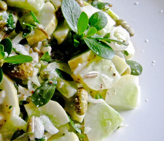 Cucumber salad with edamame and purslane