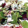 Watercress & Beet Salad.<br /> Hydroponic watercress, red beets, Maytag bleu cheese, pistachios, pomegranate vinaigrette.