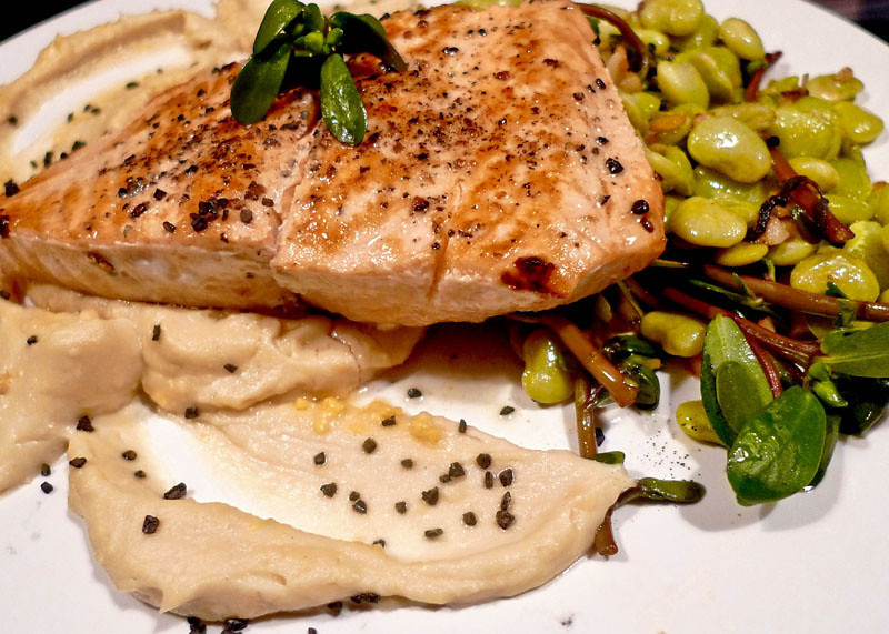 Salmon with favas, purslane, warm hummus and black lava salt