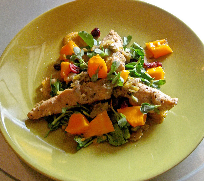 Mauby-marinated chicken salad with mangos, plantains and purslane