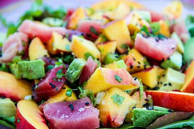 Summeripe Nectarine and Ahi Tuna with Salad Greens
