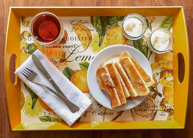 Coddled Eggs with Maggi Seasoning and Toast Soldiers