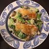 Pan Seared Cod, Broccoli and Mushrooms with Alfredo sauce