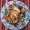 Bread Salad<br />  This is an excellent heart healthy meal and we loved it! I think we will do this one again this week. I love all the fresh veggies in this dish. This would be a great meal for a dinner party too. Kid version that we did is at the bottom.<br />  5-6 boneless skinless chicken breasts, marinated in Lawry's Sante Fe Chili marinade 24 hours<br />  2 baquettes, split lengthwise<br />  1 large bag of baby spinach<br />  1 cup coleslaw<br />  Garlic infused olive oil, this stuff is so good I could drink it!<br />  4 Tomatoes, cored and cut into 1 inch pieces<br />  1 Cucumber, cut into 1/2 inch pieces<br />  1 red onion sliced<br />  1/2 Cup Black olives<br />  1/2 Cup Feta Cheese<br />  salt and pepper to taste<br />  Penzy's Salad Elegant seasoning, optional but recommended-so good!<br />  Preheat grill to medium, grill chicken until juices run clear.<br />  Drizzle baquettes with garlic olive oil and grill cut side down, about 5 minutes. Cut into 1 inch pieces. Place in a bowl and add spinach, coleslaw, tomatoes, cucumber, onion, olives and feta cheese. Drizzle garlic olive oil and toss. Add salt, pepper and salad elegant to taste.<br />  Place bread salad on plates and top with sliced chicken breasts and feta cheese.<br />  Kid Version:<br />  Instead of tossing with olive oil, we did ranch dressing and left out olives and feta cheese. We used shredded fiesta style cheese instead. They loved this meal too.