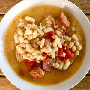 White Bean and Chouriço Soup with Garlic Bread