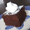 One-Bowl Mocha Cake<br />  Probably the best cake I've ever had! It's really moist and has a rich chocolate coffee flavor. YUM! It's also very easy.<br />  1 1/2 cups (packed) brown sugar<br />  1 cup flour<br />  6 tbsp unsweetened cocoa powder<br />  1/2 tsp baking soda<br />  1/4 tsp salt<br />  2 eggs<br />  1 tsp pure vanilla extract<br />  1/2 cup brewed coffee<br />  1 stick unsalted butter, melted<br />  1/2 cup mini semisweet chocolate chips<br />  1/4 cup powdered sugar<br />  whipped cream<br />  Preheat over to 350. Grease 8-inch square baking pan. In a bowl whisk brown sugar, flour, cocoa, baking soda and salt. Make a well in the center. Whisk eggs and vanilla into the well to blend. Gradually whisk in coffee and butter then whisk in surrounding dry ingredients. Stir in chocolate chips, transfer batter to pan. Bake until toothpick comes out clean, about 40 minutes. Let cool, dust with powdered sugar, top with whipped cream and serve.<br /> -Rachel Ray Magazine