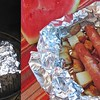 BBQ Hot Dog & Potato Packs<br />  These were fun and delicious! Kids loved doing this! The only thing we would change would be to add the cheese at the end after they're done cooking.<br />  Hot dogs<br />  Red Potatoes, cut into small wedges/pieces<br />  A small onion, cut into wedges<br />  Shredded Cheddar Cheese (We used fiesta blend)<br />  Barbecue Sauce<br />  Lay out your foil pieces, spray with a little olive oil.<br />  Divide your potatoes among the foil pieces. Top each with a hot dog or two, onion and cheese. Drizzle with barbecue sauce. Fold foil around mixture, sealing tightly.<br />  Grill, covered, over medium heat 10-15 minutes or until heated through. Open foil carefully to allow steam to escape. Serve when ready!-<br /> -taste of home recipe