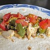 Chicken Fajitas<br />  These were great! Kids loved them! The chicken was juicy and the lime marinade added a very refreshing flavor. An easy weeknight meal too.<br />  1 cup lime juice<br />  4 1/2 teaspoons olive oil<br />  2 cloves garlic, crushed<br />  1/2 teaspoon ground cumin<br />  1/2 teaspoon chili powder<br />  1/4 teaspoon salt<br />  1/4 teaspoon red pepper flakes <br />  5 skinless, boneless chicken breast halves<br />  8-10 fajita tortillas<br />  2 tbsp olive oil<br />  3 bell peppers<br />  1 small red onion<br />  Optional Toppings- choose whatever you want. This is what we did.<br />  2 cups shredded mexican cheese blend <br />  2 tomatoes<br />  sour cream<br />  taco sauce/hot sauce<br />  Directions<br />  Whisk together the lime juice, olive oil, garlic, ground cumin, chili powder, salt, and red pepper flakes in a bowl; pour into a large resealable plastic bag.<br />  Put the chicken breasts into the bag, coat with the marinade, squeeze out excess air, and seal the bag.<br />  Marinate in the refrigerator for 8 hours to overnight.<br />  Prepare chicken however you want, grill or bake. I used the George Foreman Grill. Takes 7-9 minutes to cook 2 at a time.<br />  Heat olive oil over medium heat. Slice peppers and onion into thin strips and place in pan. Cook until tender crisp.<br />  After chicken is cooked, let cool slightly and slice into thin strips and place in pan with peppers and onions. Toss and reduce heat to low. Serve when ready with your favorite toppings.
