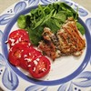 Greek Chicken Served with Sliced Tomatoes and Fresh Spinach with a Lemon and Olive Oil Dressing<br />  This is another great heart healthy meal. We loved this one!<br />  Greek Chicken<br />  1/2 cup olive oil<br />  3 cloves garlic, chopped<br />  1 tbsp chopped rosemary-with the herbs you can use fresh or dried<br />  1 tbsp chopped thyme<br />  1 tbsp chopped oregano<br />  1/2 cup lemon juice<br />  1 (4 lb) whole chicken cut into pieces-Use whatever you want here. I used boneless skinless thighs. They always come out tender and juicy.<br />  In a tupperware container (you can also use a ziplock bag) combine all ingredients, except chicken. Mix well, then add chicken. Coat chicken with marinade, cover dish and refrigerate overnight.<br />  Prepare grill and cook chicken until cooked through. I used a george foreman on this one. <br />  While chicken is cooking slice tomatoes, sprinkle with salt, pepper and feta cheese.<br /> -allrecipes by Karen<br />  Lemon and Olive Oil Dressing<br />  I saw this on a My Family Recipe Rocks. It's a light dressing and you don't need much. If you like your dressing a little sweeter add a bit more sugar.<br />  1/4 cup lemon juice<br />  3/4 cup olive oil<br />  2 tsp sugar<br />  Salt and Pepper to taste<br />  Mix all ingredients and drizzle over salad.