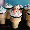 Cupcake Ice Cream Cones<br /> I used a box cake mix, filled cones about 3/4 full with batter.  Place cones on a cupcake tin, baked as directed, let cool and frosted, added toppings.