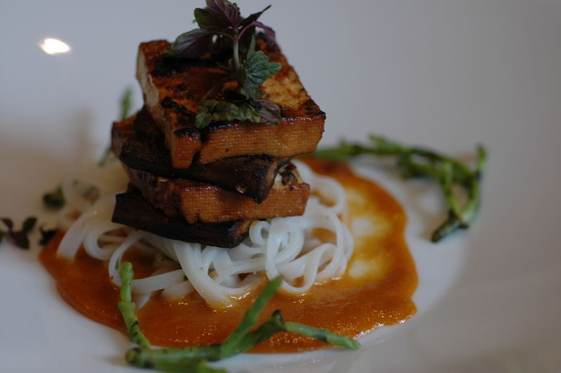Second course: Grilled Eggplant and Tofu with Spicy Red Curry.  I loved the stacked and careful presentation, and the flavors worked well together.