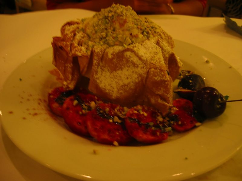 Filo dough with pudding (not vegan) [blurry]