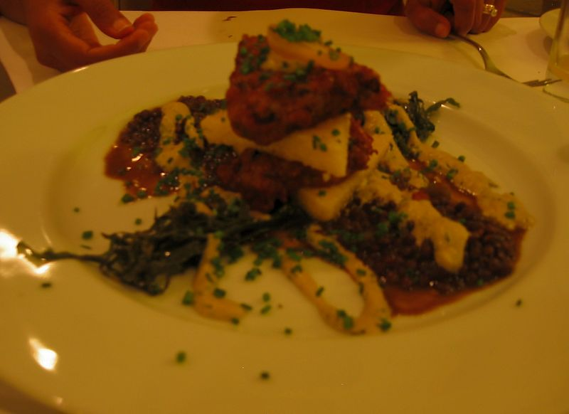 Black-eyed pea fritter and polenta [bit blurry]