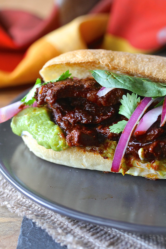 Tortas de Chile Colorado de Res (Chile Colorado Beef Sandwiches)
