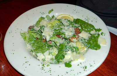 """Caesar Salad -  Crisp romaine and aged Parmesan cheese in our creamy dressing. C$6.45.  Served in """"The Keg"""" in London, Ontario  01/02/11"""
