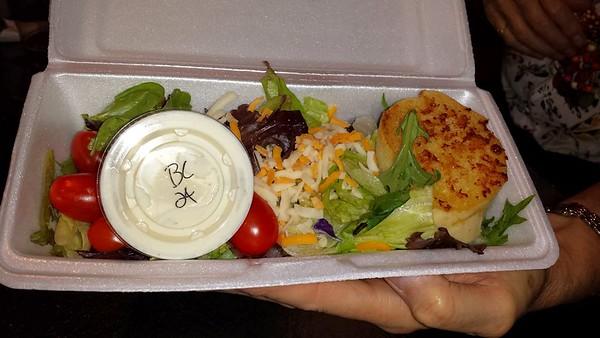 "Salad. Served in ""The Mulligan Room"""