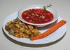 00aFavorite 20130622 Watermelon Gazpacho with Avocado, Polenta - Seitan- Baby Artichoke Heart Saute (No Added Fat) (1901)