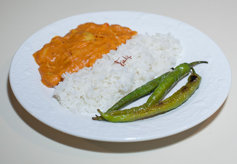 20180815 (2011) India's 71st Indep Day Dinner - Split Red Lentil w Roasted Red Pepper, Basmati Rice, listered Fushimi Chile Peppers (No Added Fat)