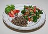 00aFavorite 20140424 Seitan Saute w Green Garlic, Kale, Broccoli, Rstd Rd Pepper, and Red Miso, served w Tricolor Quinoa (No Added Fat) (2007)